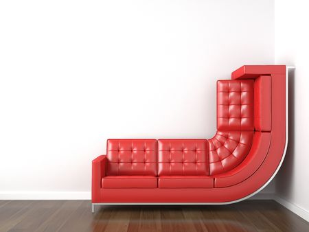 furniture design: interior design with a bended yellow couch in a corner white room climbing up the wall with plenty copy space.