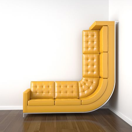 corner decoration: interior design with a bended yellow couch in a corner white room climbing up the wall with plenty copy space.