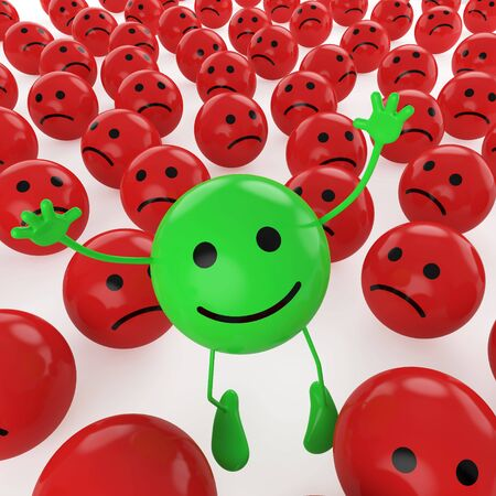 happiness concept: A green smiley happy jumping among many sad red others as concept for unique, optimistic, hapiness, difference.