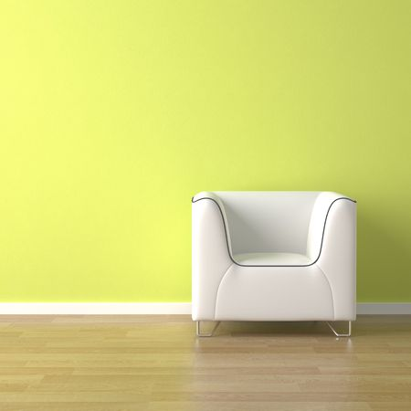Minimalism: interior design scene white couch on a green wall background with copy space  Stock Photo