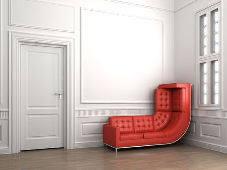 Interior scene of a corner room with a bended red couch climbing up the wall and copy space photo