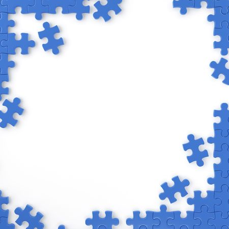 jig: puzzle pieces forming a frame for your own text or design with copy space. Stock Photo