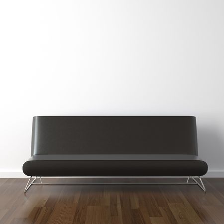 interior design scene with modern black leather couch on white wall Stock Photo - 5689560