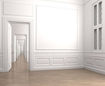 molding: Interior scene of an emprty room corner with a closed door and a window with clipping path for adding exterior scene Stock Photo