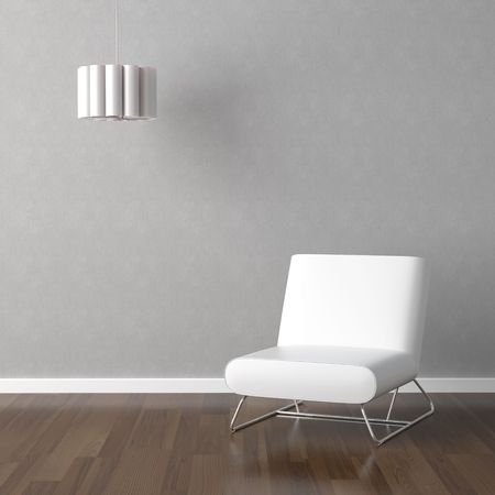 interior design scene with white modern chair and hanging lamp on a grey wall