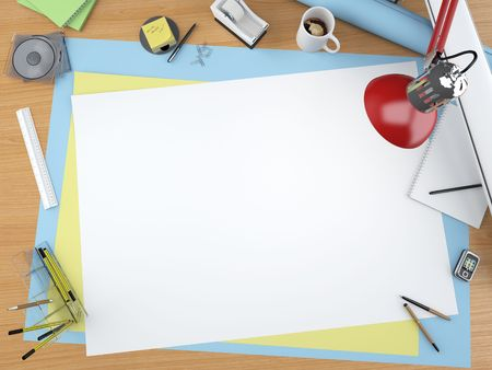centered: top view of a designer drawing table with lots of stationary items and a centered copy space for your own design (more similar images on my port) Stock Photo