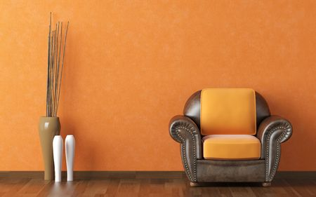 interior design scene brown leather couch on a orange wall background with vases and copy space  Stock Photo