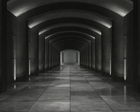 grunge background of an interior concrete vault with interesting spot lighting photo