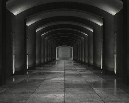 Grunge-Hintergrund von einer inneren konkrete Depot mit interessanten Ort Beleuchtung Standard-Bild