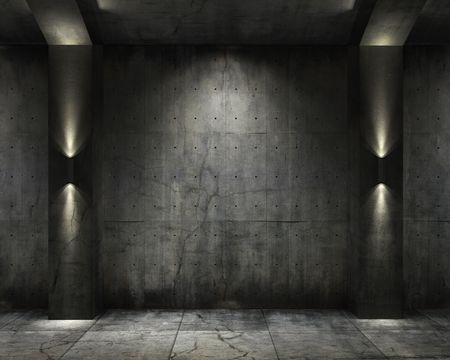 grunge interior: Fondo de grunge de una b�veda de hormig�n interior con iluminaci�n interesante de tintas plana