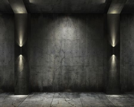abandoned warehouse: grunge background of an interior concrete vault with interesting spot lighting Stock Photo