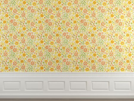 Interior scene of flowery wallpaper and white molding wall with copy space ideal for background use. photo
