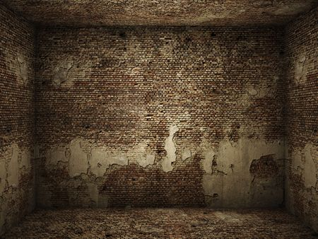 Interior of a very grungy brick wall room for use as background image photo