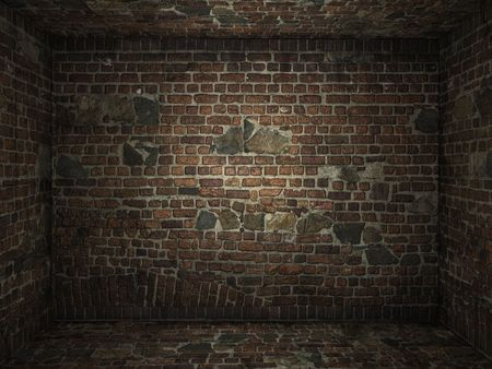 Interior of a very grungy brick wall room for use as background image Stock Photo - 6356088