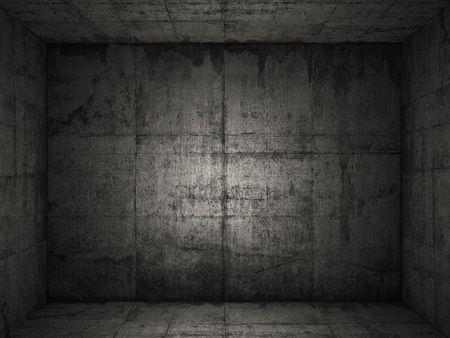 warehouse interior: Molto scuro e sgangherata camera concreto per uso come sfondo, pi� su questa serie nel mio portafolio