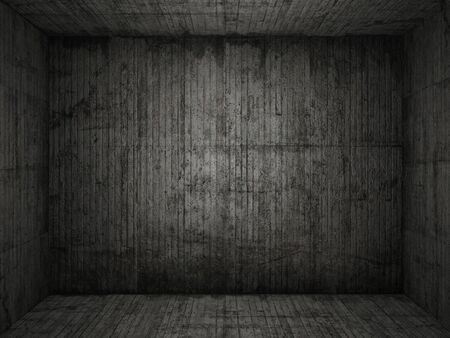 Very grungy and dark concrete room for use as background photo