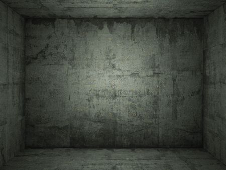 concrete room: Interior scene of grungy green concrete room for use as background