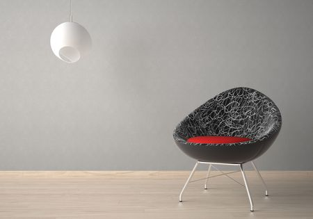 Interior design of modern armchair and lamp against a grey wall Stock Photo - 7133701