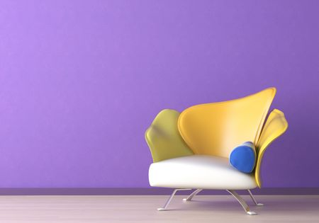 Inter design of a modern armchair against a violet wall with copy space on the top left corner Stock Photo - 7133702