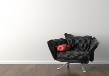 red chair: Interior design of a black leather armchair against a white wall with copy space on the top left corner