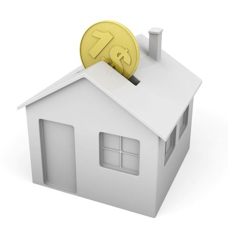 money boxes: house shaped money box with a coin as concept for mortgage or real state investment