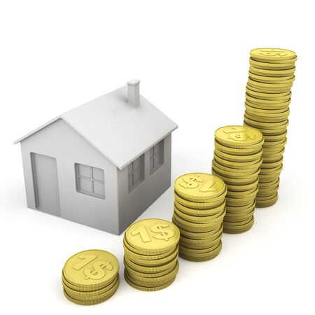 stack of coins and house icon as concept related to real state bussines photo
