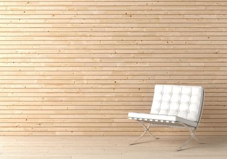 Interior design of wooden wall with white leather chair and copy space on the top left corner Stock Photo - 7150196