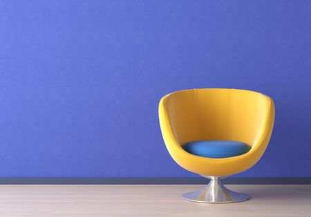 colorfully: Interior design of yellow armchair against a vibrant blue wall with copy space on the top left corner