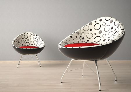 Interior design of two modern armchairs on a grey wall Stock Photo - 7150198
