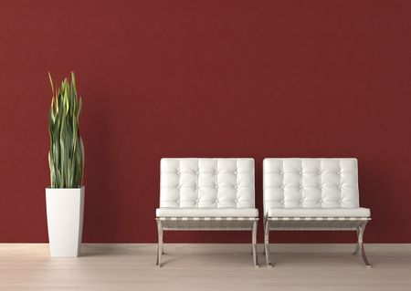 Interior design of two white chairs and a plant on a red wall with copy space on top Stock Photo - 7150193