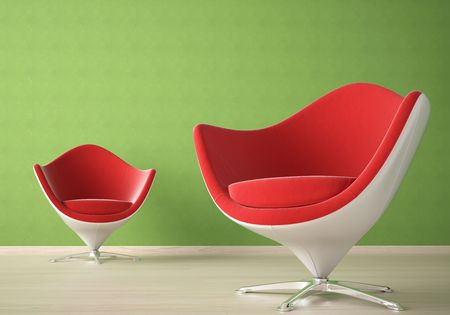 Interior design of two modern red and white armchairs against a agreen wall Stock Photo - 7150187