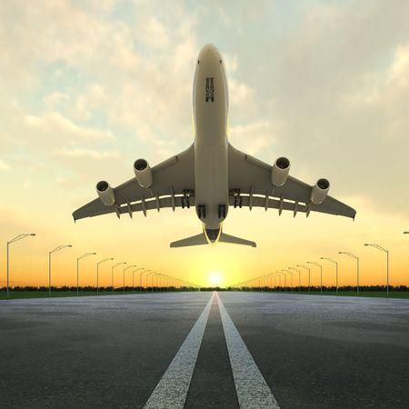 takeoff: aereo a decollo visto dal basso nella striscia di sbarco aeroporto al tramonto.