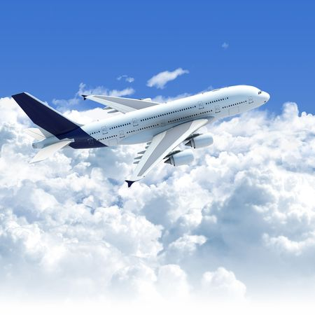 aeroplanes: Big Jet airplane flying over a clear cloudscape seen from the side top, clipping path on the plane for easy isolation from the background Stock Photo