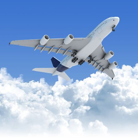 Big Jet airplane flying over a clear cloudscape seen from the bottom on takeoff, clipping path on the plane for easy isolation from the background photo
