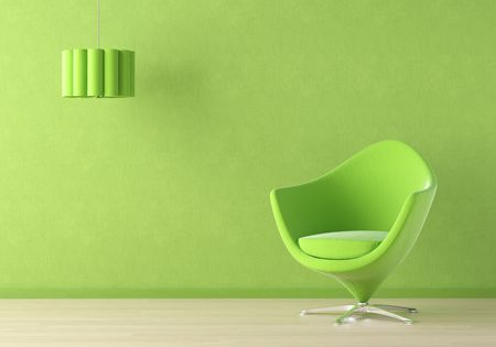 green couch: Interior design scene with a modern green couch and lamp on green wall Stock Photo