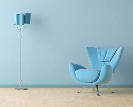 Interior design scene with a modern blue couch and lamp on blue wall