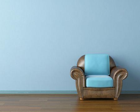 blue leather sofa: Interior design scena con un divano in pelle marrone moderna e la lampada sulla parete blu