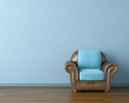couch: Interior design scene with a modern brown leather couch and lamp on blue wall