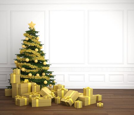 Green and golden christmas tree dacorated with a pile of presents in an empry white room, copy space placed right photo