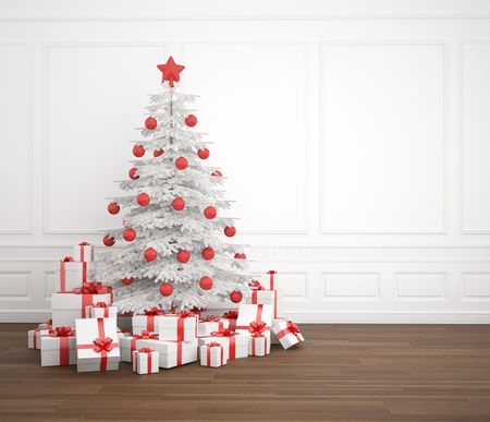 White and red christmas tree dacorated with a pile of presents in an empry white room, copy space placed right photo