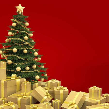 dacorated: Golden decorated christmas tree with many presents isolated against a red background Stock Photo
