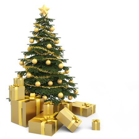 decorated christmas tree: Golden decorated christmas tree wirh many presents and isolated on white Stock Photo