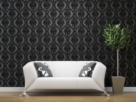 minimalistic: interior design of white sofa on black and silver wallpaper background with copy space Stock Photo