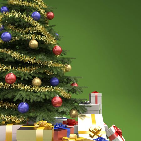 close up of decorated christmas tree with many presents on green background with copy space on right Stock Photo - 7882231