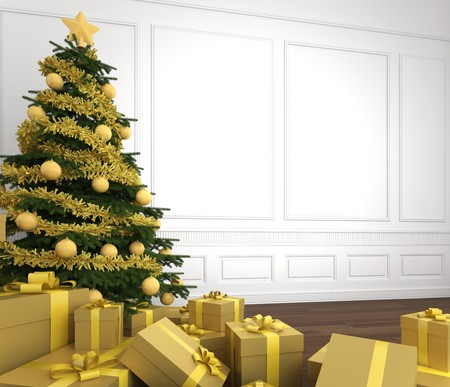 close up of Green and golden christmas tree decorated with a pile of presents in an empty white room, copy space placed right Stock Photo - 7882215