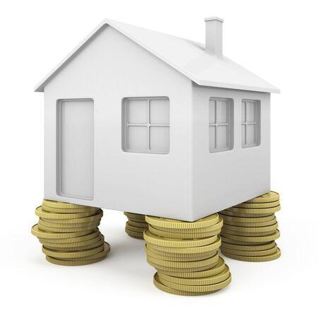 investment real state: Casa de icoinc con pilares de monedas como concepto de inversi�n inmobiliaria