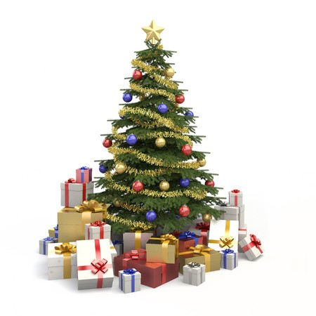 silver christmas: Fully decorated christmas tree with many presents and isolated on white background