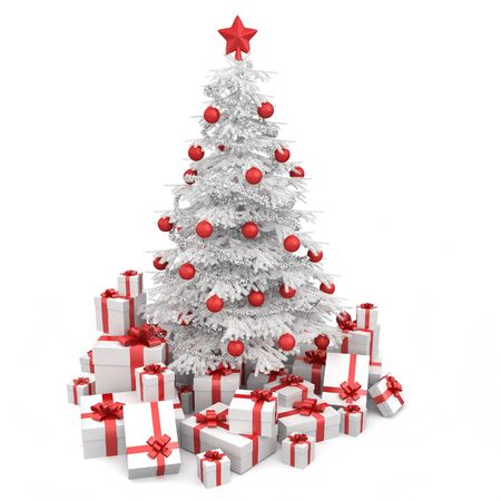 dacorated: white and red christmas tree decorated with many presents and isolated on white