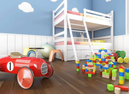 babie: Children&Acirc,&acute,s  room in blue walls with litter and lots of toys on the foreground