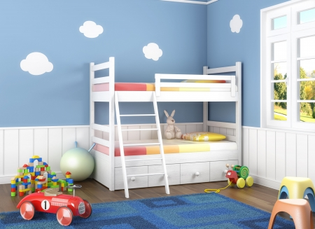 babie: Children´s  room in blue walls with litter and lots of toys on the floor Stock Photo